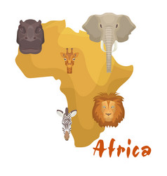 africa animals map or continent vector image