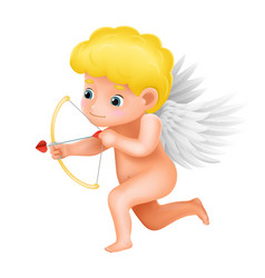 angel cherub cute baboy bow arrow love shot vector image