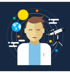 Astronomer space science man vector