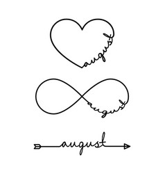 august - word with infinity symbol hand drawn vector image