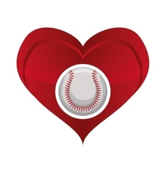 ball heart baseball sport design vector image
