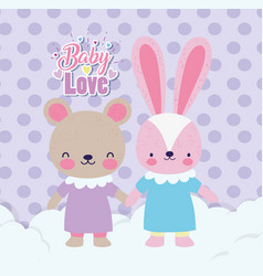 bashower cute rabbit and bear girls with dress vector image