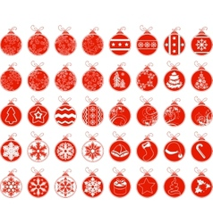 Big set with contour stylized Christmas balls vector