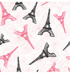 black pink eifel tower paris and roses vector image