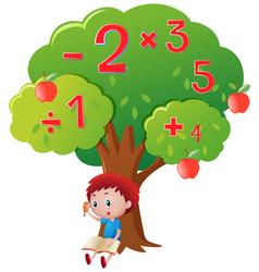 Boy calculating numbers under big tree vector