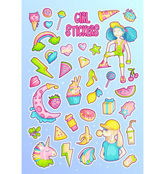 Brave cute fashion princess cartoon sticker vector