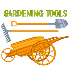 bright colorful cartoon garden care toolls set vector image