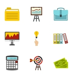 Business icons set flat style vector image