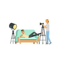cartoon guy model character posing lying on couch vector image