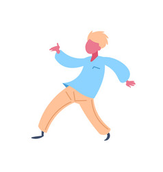 casual man character dancing pose isolated male vector image