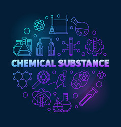 Chemical substance colored round outline vector