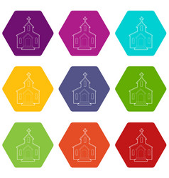 church icons set 9 vector image