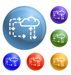 cloud direction icons set vector image