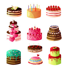 collection of delicious cakes with fresh fruits vector image