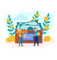 concept of accumulation of money help old vector image