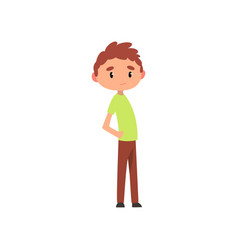 Cute boy elementary school student cartoon vector
