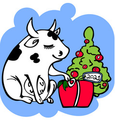 cute cow packing christmas presents new year 2021 vector image