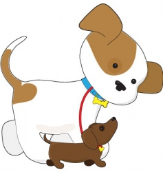 cute puppy walking a pup vector image