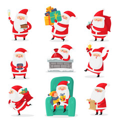 cute santa christmas santa clauses with funny vector image