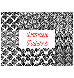 Damask seamless decor patterns vector