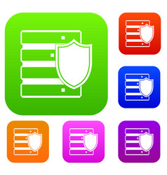 Database with shield set collection vector