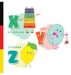 Deutsch alphabet xylophone yeti lemon vector