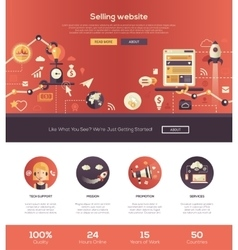 Flat design selling website header banner vector