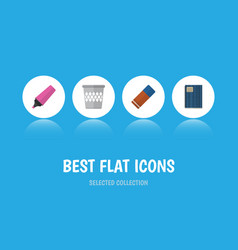 flat icon stationery set of copybook rubber vector image
