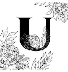 Flower alphabet letter u pattern vector