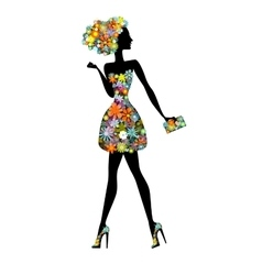 flower girl - a beautiful woman with perfume vector image