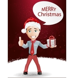 Funny boy and Christmas vector image