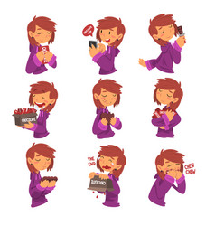 funny girl with chocolate set sweet tooth girl vector image