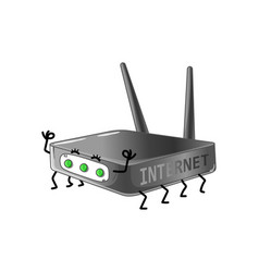 funny internet router cartoon character vector image