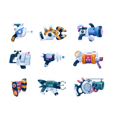 Game weapon cartoon space alien blaster with vector