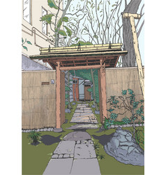 gate to courtyard tokyo sketch japan vector image