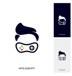 geek games leaf logo concept game geek logo vector image