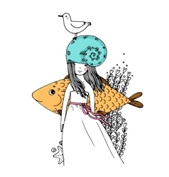 Girl fish seagulls seaweed starfish and a ring vector image