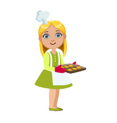 Girl with tray of cookies cute kid in chief toque vector