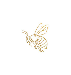 Golden wasp silhouette linear style vector