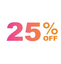 gradient pink to orange twenty-five percent off vector image