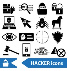 Hacker and computer security theme icons set eps10 vector