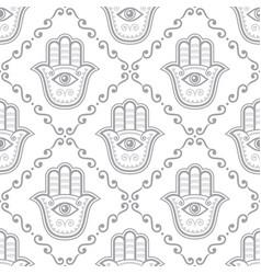 hamsa hand seamless pattern khamsa or hand vector image
