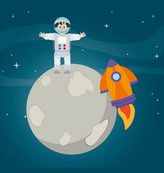 Happy astronaut man and rocket in the moon vector