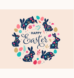 happy easter decorated easter card banner vector image