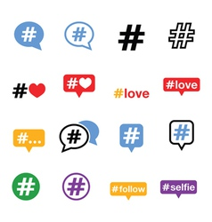 Hashtag social media icons set vector image