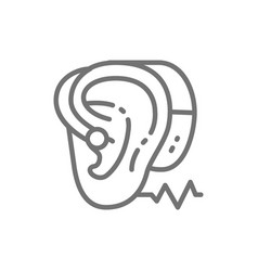 Hearing aid line icon isolated on white vector