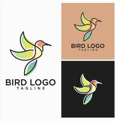 Hummingbird lineart logo design stock vector