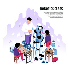 isometric robotics workshop background vector image