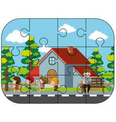 Jigsaw puzzle game with kids in neighborhood vector