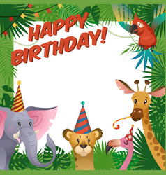 Jungle animals party card happy birthday baby vector